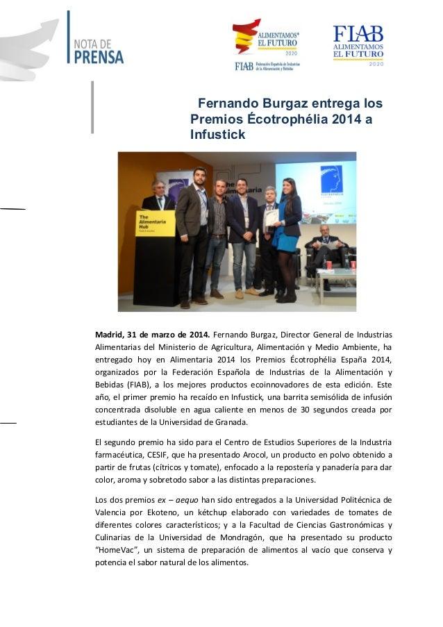 Fernando Burgaz entrega los Premios Écotrophélia 2014 a Infustick Madrid, 31 de marzo de 2014. Fernando Burgaz, Director G...