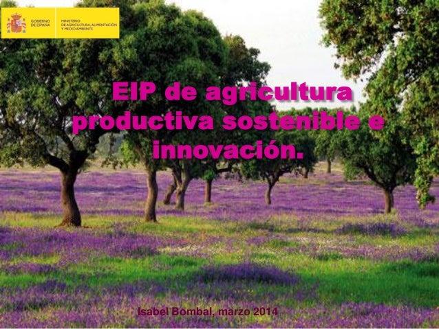 EIP de agricultura productiva sostenible e innovación. Isabel Bombal, marzo 2014