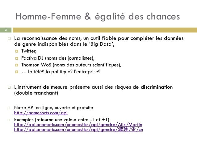 Homme-Femme & égalité des chances 3  La reconnaissance des noms, un outil fiable pour compléter les données de genre indi...