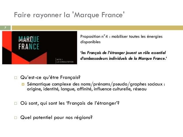 Faire rayonner la 'Marque France' 7  Qu'est-ce qu'être Français?  Sémantique complexe des noms/prénoms/pseudo/graphes so...
