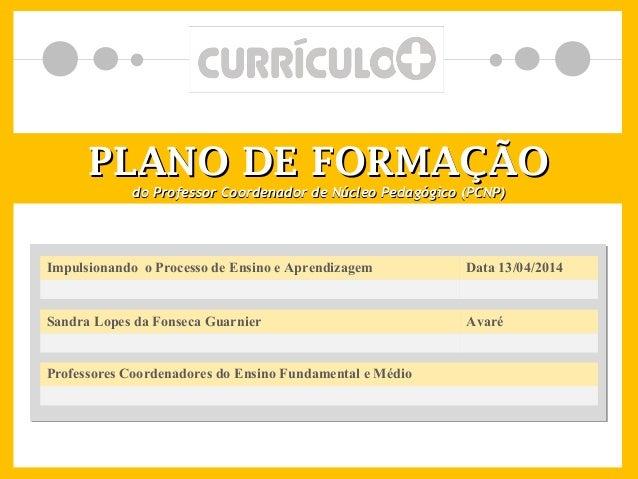 PLANO DE FORMAÇÃOPLANO DE FORMAÇÃO do Professor Coordenador de Núcleo Pedagógico (PCNP)do Professor Coordenador de Núcleo ...