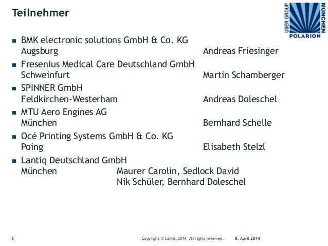 1. Polarion User Group Munich Meeting on 8th April 2014 Slide 3