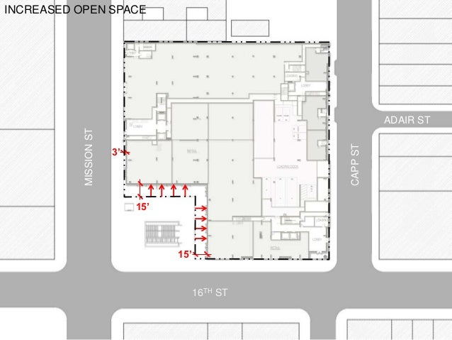 INCREASED OPEN SPACE 15' 15' 3' MISSIONST CAPPST 16TH ST ADAIR ST