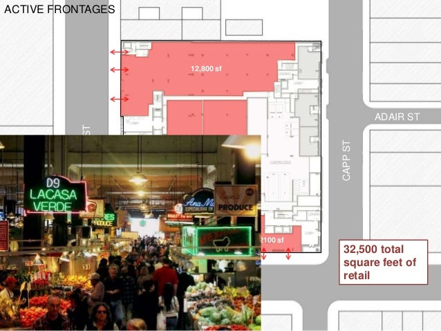 MISSIONST CAPPST 16TH ST ADAIR ST ACTIVE FRONTAGES 2800 sf 8000 sf 2500 sf 2100 sf 12,800 sf 4300 sf 32,500 total square f...