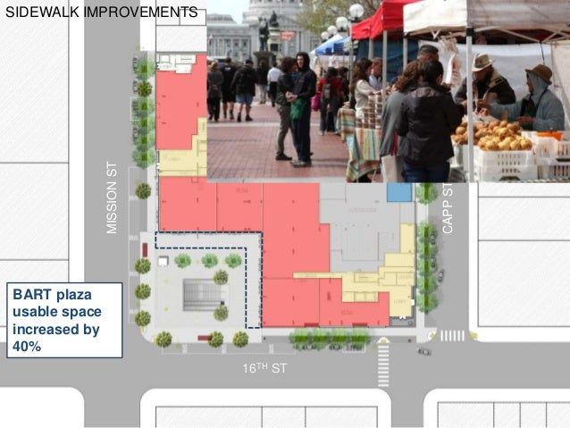 MISSIONST CAPPST 16TH ST ADAIR ST SIDEWALK IMPROVEMENTS BART plaza usable space increased by 40%