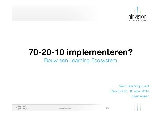 Diawww.atrivision.com Next Learning Event Den Bosch, 16 april 2014 Daan Assen 70-20-10 implementeren? Bouw een Learning Ec...
