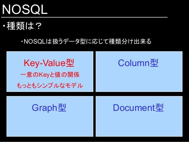 NOSQL ・種類は? ・NOSQLは扱うデータ型に応じて種類分け出来る Key-Value型  Column型 Document型 Graph型 一意のKeyと値の関係 もっともシンプルなモデル