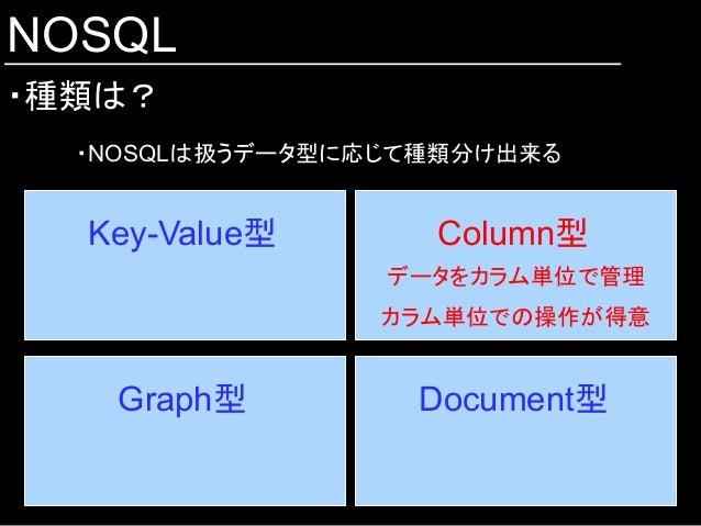 NOSQL ・種類は? Key-Value型  Column型 Document型 Graph型 データをカラム単位で管理 カラム単位での操作が得意 ・NOSQLは扱うデータ型に応じて種類分け出来る