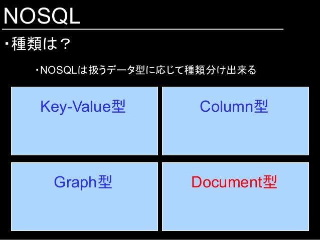 NOSQL ・種類は? Key-Value型  Column型 Document型 Graph型 ・NOSQLは扱うデータ型に応じて種類分け出来る