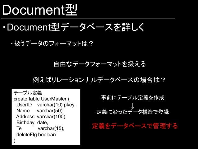 Document型 ・Document型データベースを詳しく ・扱うデータのフォーマットは? 自由なデータフォーマットを扱える 例えばリレーションナルデータベースの場合は? テーブル定義 create table UserMaster ( U...