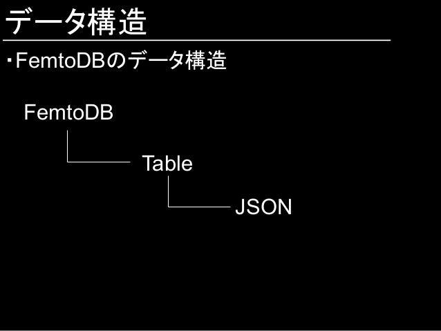 データ構造 ・FemtoDBのデータ構造 FemtoDB Table JSON