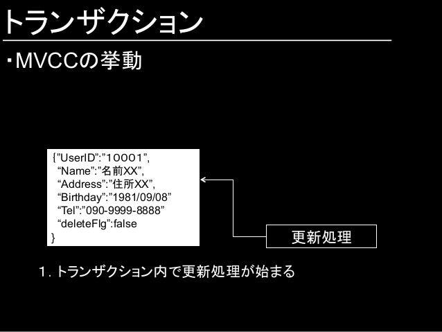 """トランザクション ・MVCCの挙動 {""""UserID"""":""""10001"""", """"Name"""":""""名前XX"""", """"Address"""":""""住所XX"""", """"Birthday"""":""""1981/09/08"""" """"Tel"""":""""090-9999-8888"""" """"dele..."""