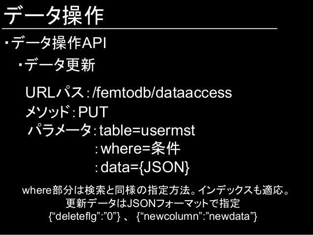 データ操作 ・データ操作API ・データ更新 URLパス:/femtodb/dataaccess メソッド:PUT  パラメータ:table=usermst :where=条件 :data={JSON} where部分は検索と同様の指定方法。イ...