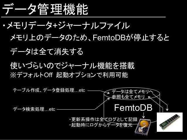 データ管理機能 ・メモリデータ+ジャーナルファイル メモリ上のデータのため、FemtoDBが停止すると データは全て消失する 使いづらいのでジャーナル機能を搭載 ※デフォルトOff 起動オプションで利用可能 FemtoDB テーブル作成、デー...