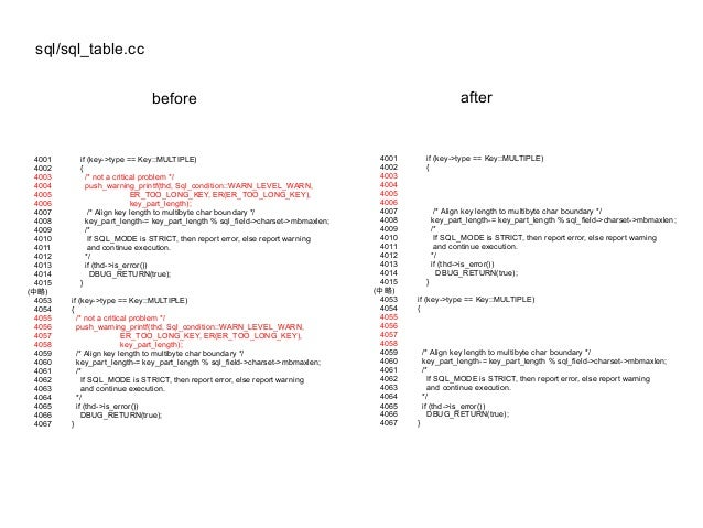 sql/sql_table.cc before after 4001 if (key->type == Key::MULTIPLE) 4002 { 4003 /* not a critical problem */ 4004 push_warn...