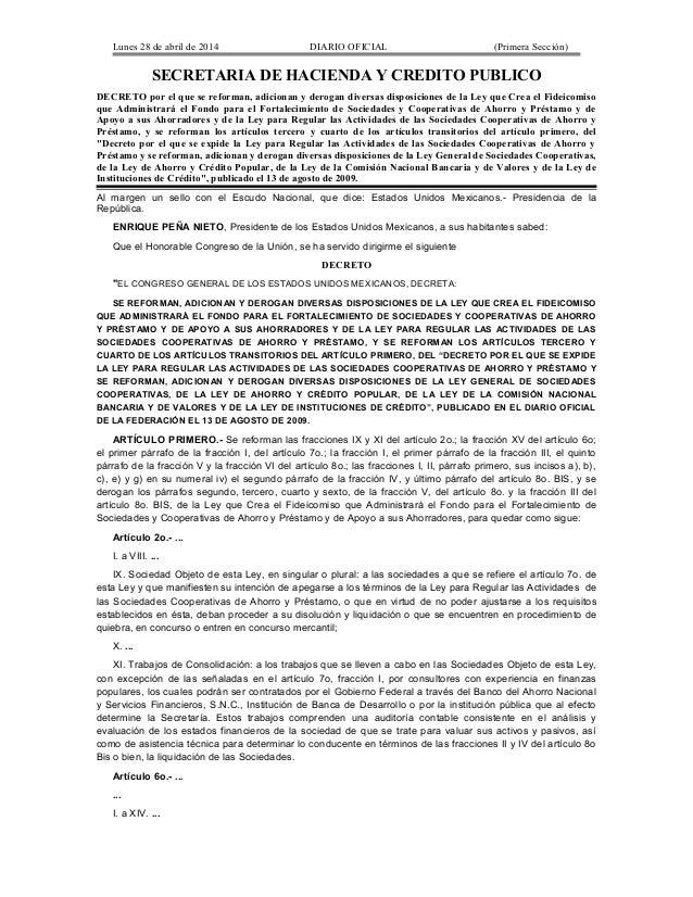 Lunes 28 de abril de 2014 DIARIO OFICIAL (Primera Sección) SECRETARIA DE HACIENDA Y CREDITO PUBLICO DECRETO por el que se ...
