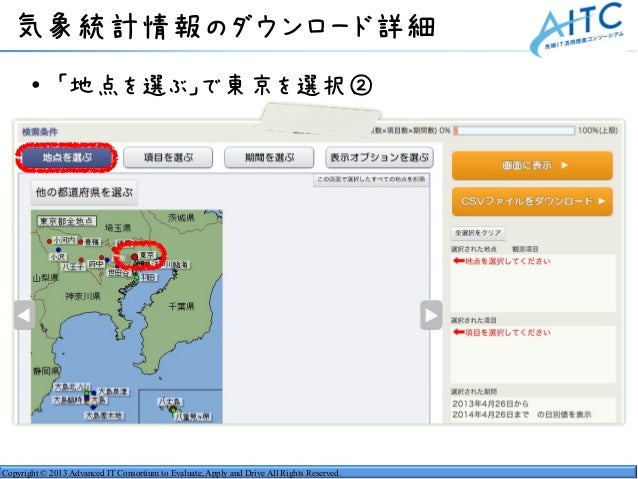 Copyright © 2013 Advanced IT Consortium to Evaluate, Apply and Drive All Rights Reserved. 気象統計情報のダウンロード詳細 • 「地点を選ぶ」で東京を選択②