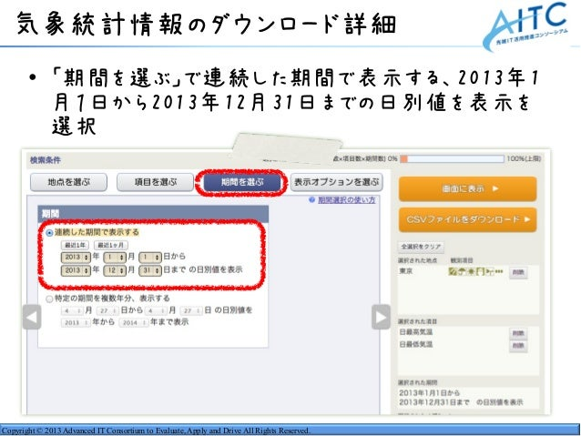 Copyright © 2013 Advanced IT Consortium to Evaluate, Apply and Drive All Rights Reserved. 気象統計情報のダウンロード詳細 • 「期間を選ぶ」で連続した期間...