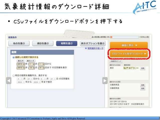 Copyright © 2013 Advanced IT Consortium to Evaluate, Apply and Drive All Rights Reserved. 気象統計情報のダウンロード詳細 • CSVファイルをダウンロード...