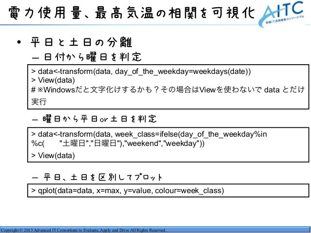 Copyright © 2013 Advanced IT Consortium to Evaluate, Apply and Drive All Rights Reserved. 電力使用量、最高気温の相関を可視化 • 平日と土日の分離 – 日...