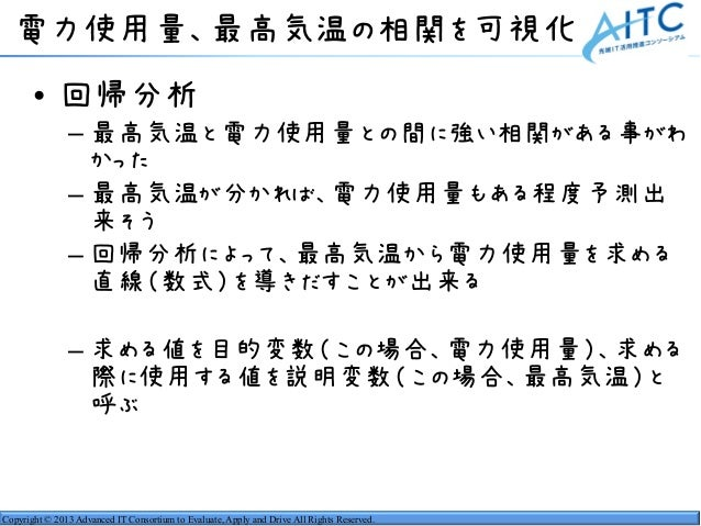 Copyright © 2013 Advanced IT Consortium to Evaluate, Apply and Drive All Rights Reserved. 電力使用量、最高気温の相関を可視化 • 回帰分析 – 最高気温と...
