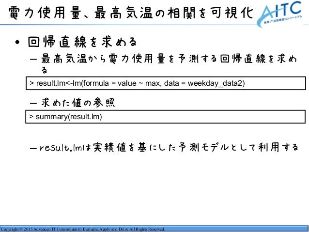 Copyright © 2013 Advanced IT Consortium to Evaluate, Apply and Drive All Rights Reserved. 電力使用量、最高気温の相関を可視化 • 回帰直線を求める – 最...