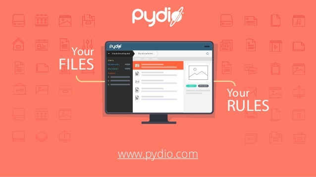 Your FILES Your RULES Shared workspace My documents Alerts Bookmarks My Shares Folders DownloadShare www.pydio.com