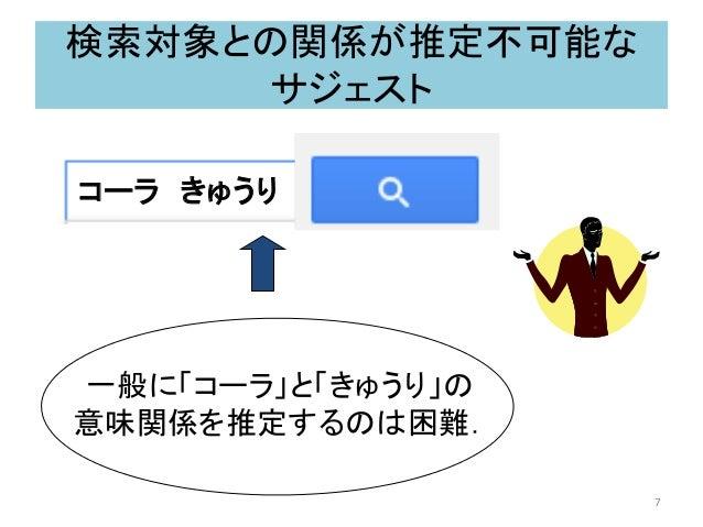 検索対象との関係が推定不可能な サジェスト 一般に「コーラ」と「きゅうり」の 意味関係を推定するのは困難. コーラ きゅうり 7
