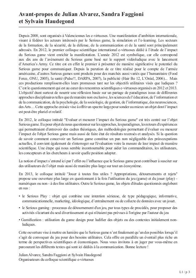 Sommaire  Introduction de la conférence par la présidente du colloque  scientifique e-virtuoses 2012 : Pamela Kato L 1/ p ...