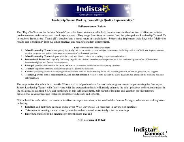 Indistar Leadership Team SelfAssessment Rubric – Leadership Self Assessment