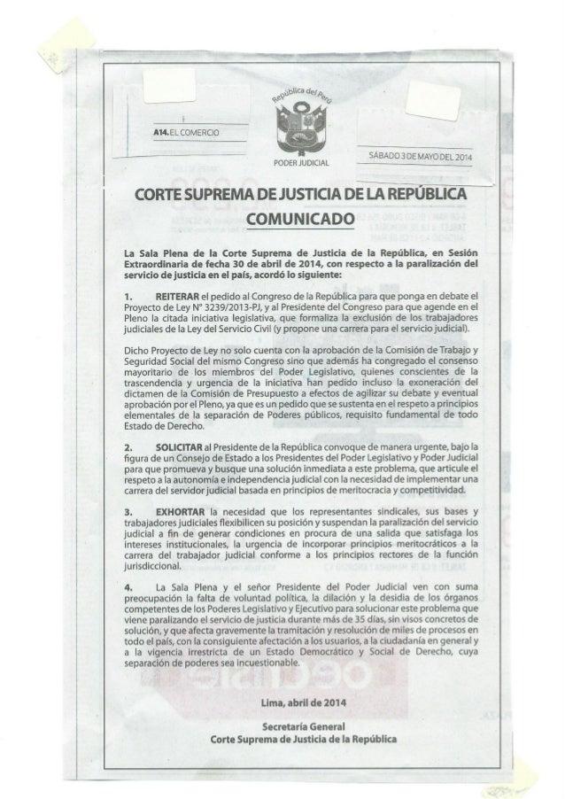 20140503. SOLICITUD DE LA CORTE SUPREMA AL PRESIDENTE DE LA REPÚBLICA