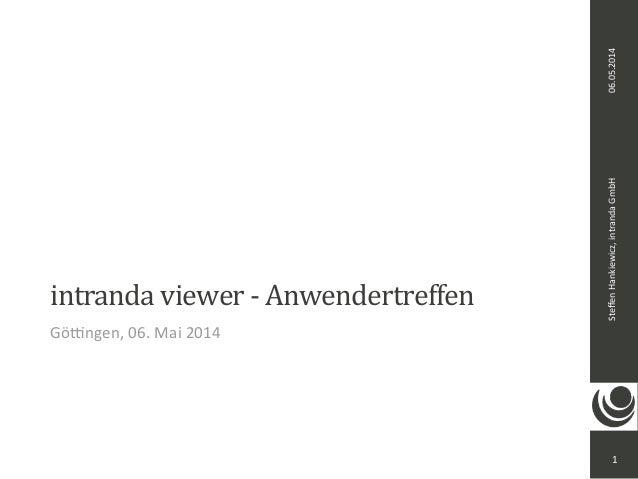 Steffen  Hankiewicz,  intranda  GmbH 06.05.2014  intranda  viewer  -‐  Anwendertreffen  Gö<ngen,  06.  Mai  2014  1