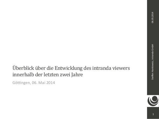 Steffen  Hankiewicz,  intranda  GmbH 06.05.2014  Überblick  über  die  Entwicklung  des  intranda  viewers  innerhalb  der...