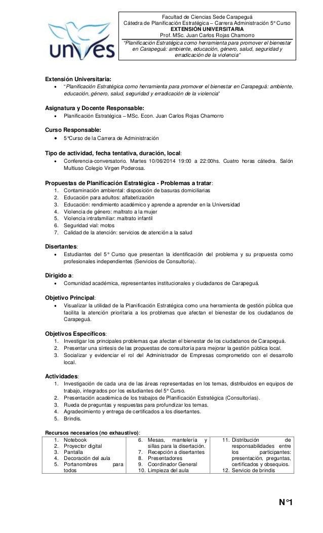 N°1 Facultad de Ciencias Sede Carapeguá Cátedra de Planificación Estratégica – Carrera Administración 5° Curso EXTENSIÓN U...