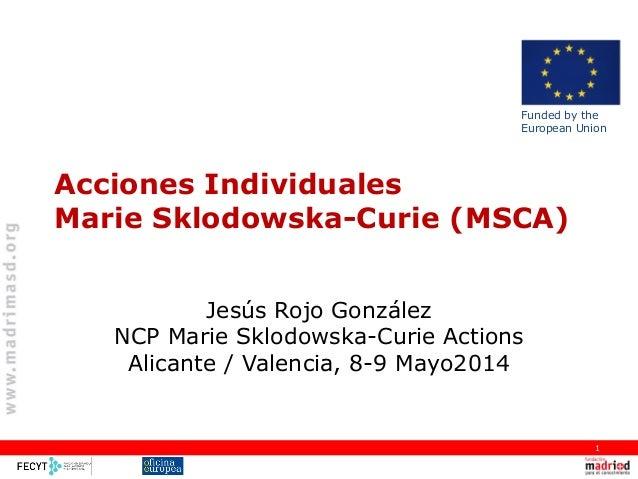 Acciones Individuales Marie Sklodowska-Curie (MSCA) Jesús Rojo González NCP Marie Sklodowska-Curie Actions Alicante / Vale...