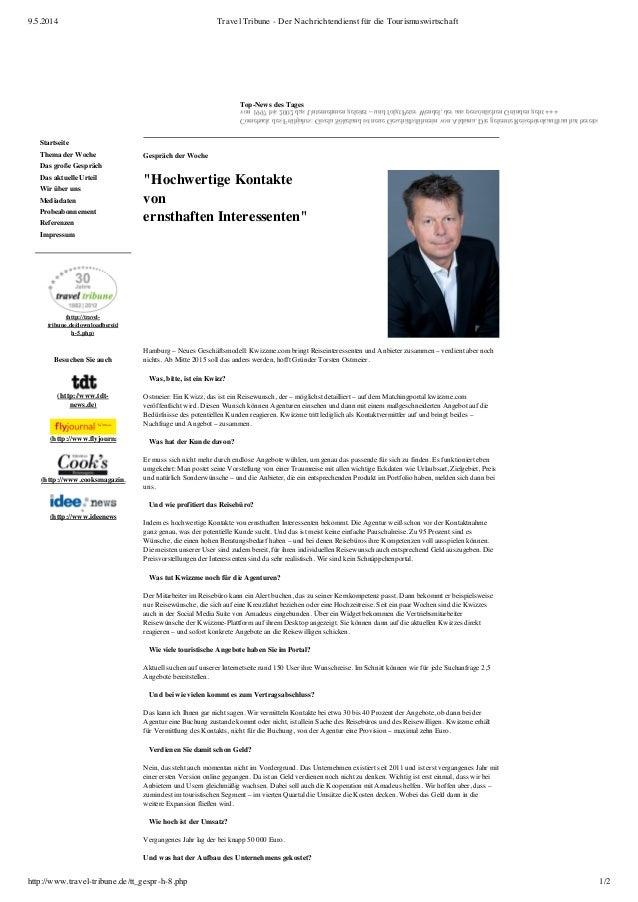 9.5.2014 Travel Tribune - Der Nachrichtendienst für die Tourismuswirtschaft http://www.travel-tribune.de/tt_gespr-h-8.php ...