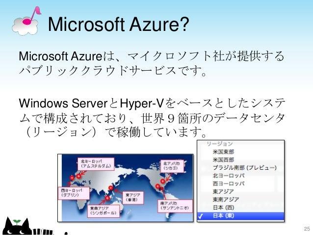 Microsoft Azure? Microsoft Azureは、マイクロソフト社が提供する パブリッククラウドサービスです。 Windows ServerとHyper-Vをベースとしたシステ ムで構成されており、世界9箇所のデータセンタ (...