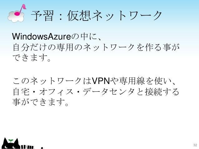 予習:仮想ネットワーク WindowsAzureの中に、 自分だけの専用のネットワークを作る事が できます。 このネットワークはVPNや専用線を使い、 自宅・オフィス・データセンタと接続する 事ができます。 32