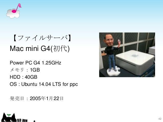 【ファイルサーバ】 Mac mini G4(初代) Power PC G4 1.25GHz メモリ:1GB HDD : 40GB OS : Ubuntu 14.04 LTS for ppc 発売日:2005年1月22日 42