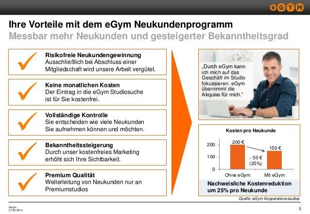 eGym Ihre Vorteile mit dem eGym Neukundenprogramm Messbar mehr Neukunden und gesteigerter Bekanntheitsgrad 321.05.2014 Kei...