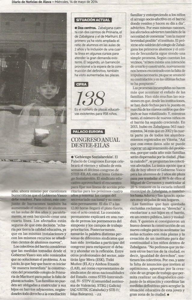 (2) Zabalgana dice basta a los parches educativos. Diario de noticias 2014/05/14