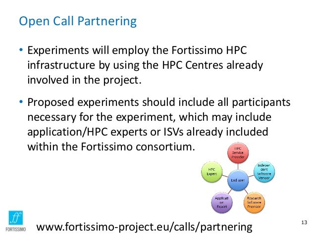 Open Call Partnering • Experiments will employ the Fortissimo HPC infrastructure by using the HPC Centres already involved...