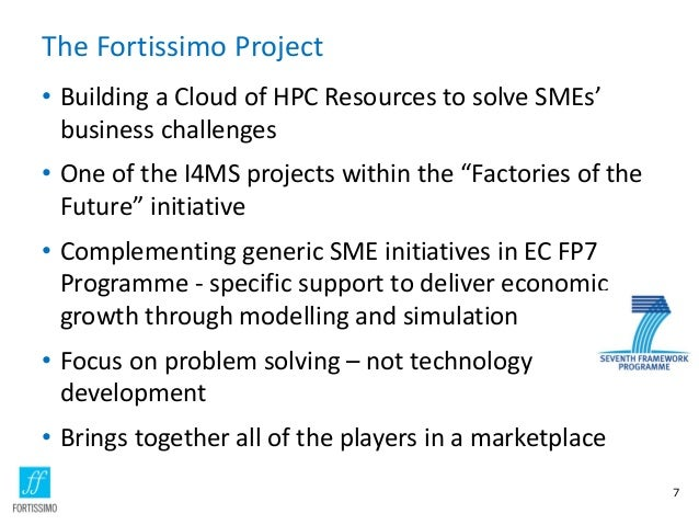 The Fortissimo Project • Building a Cloud of HPC Resources to solve SMEs' business challenges • One of the I4MS projects w...