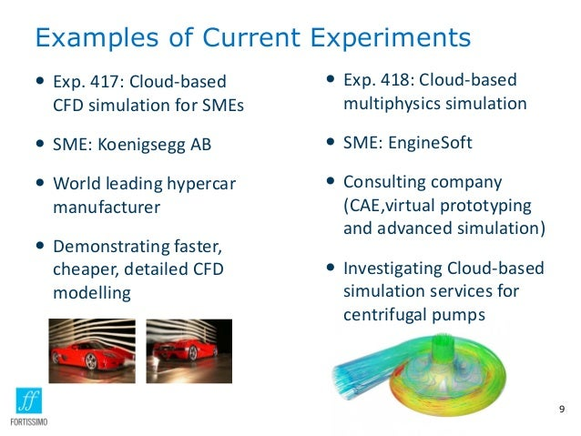 Examples of Current Experiments 9  Exp. 418: Cloud-based multiphysics simulation  SME: EngineSoft  Consulting company (...