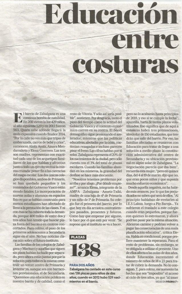 (1) Educación entre costuras. Diario de noticias 2014/05/15