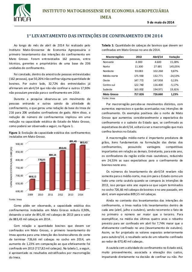 1° LEVANTAMENTO DAS INTENÇÕES DE CONFINAMENTO EM 2014 INSTITUTO MATOGROSSENSE DE ECONOMIA AGROPECUÁRIA IMEA 9 de maio de 2...