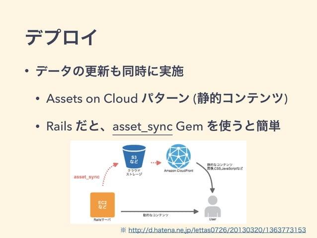デプロイ • データの更新も同時に実施 • Assets on Cloud パターン (静的コンテンツ) • Rails だと、asset_sync Gem を使うと簡単 ※ http://d.hatena.ne.jp/lettas0726/2...