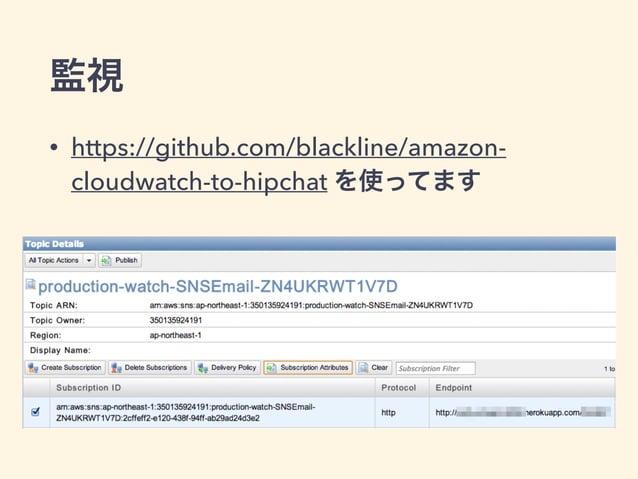 監視 • https://github.com/blackline/amazon- cloudwatch-to-hipchat を使ってます