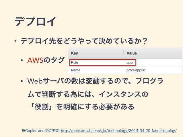 デプロイ • デプロイ先をどうやって決めているか? • AWSのタグ • Webサーバの数は変動するので、プログラ ムで判断する為には、インスタンスの 「役割」を明確にする必要がある ※Capistranoでの実装: http://hacke...