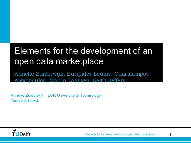 1Elements for the development of an open data marketplace Elements for the development of an open data marketplace Anneke ...